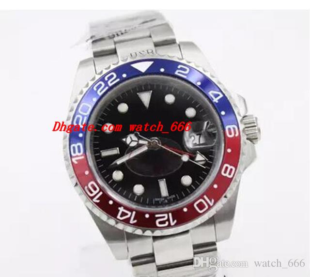 Relógio de luxo 116713 Mens Relógio Mecânico Movimento Automático Azul Vermelho Moldura De Vidro Fecho Original Pulseira De Aço Inoxidável Relógio Masculino