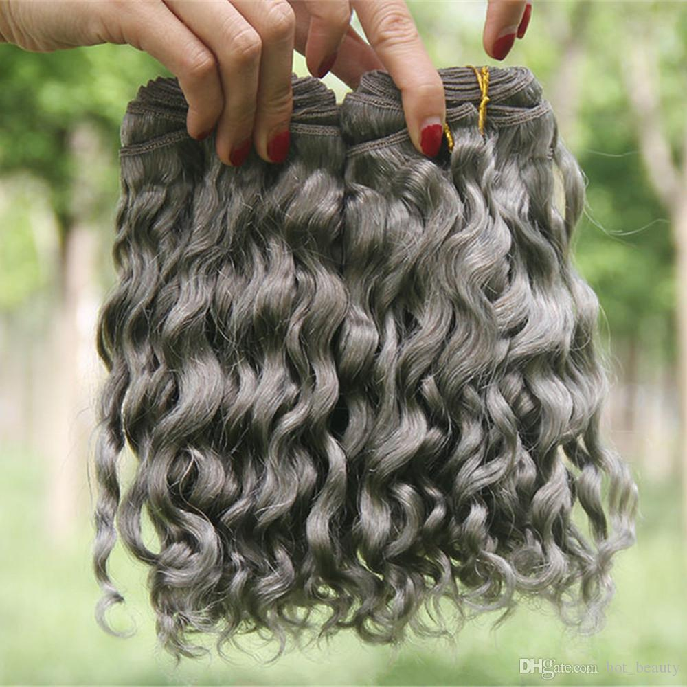 은색 회색 깊은 웨이브 인간의 머리 확장 3PCS / 로트 깊은 곱슬 물결 모양 헤어 번들 회색 브라질 버진 헤어 되죠