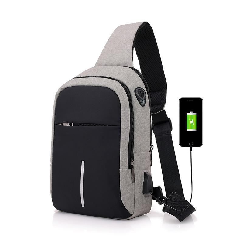 Men's USB interface charging smart small backpack new canvas polyester business travel waterproof chest bag