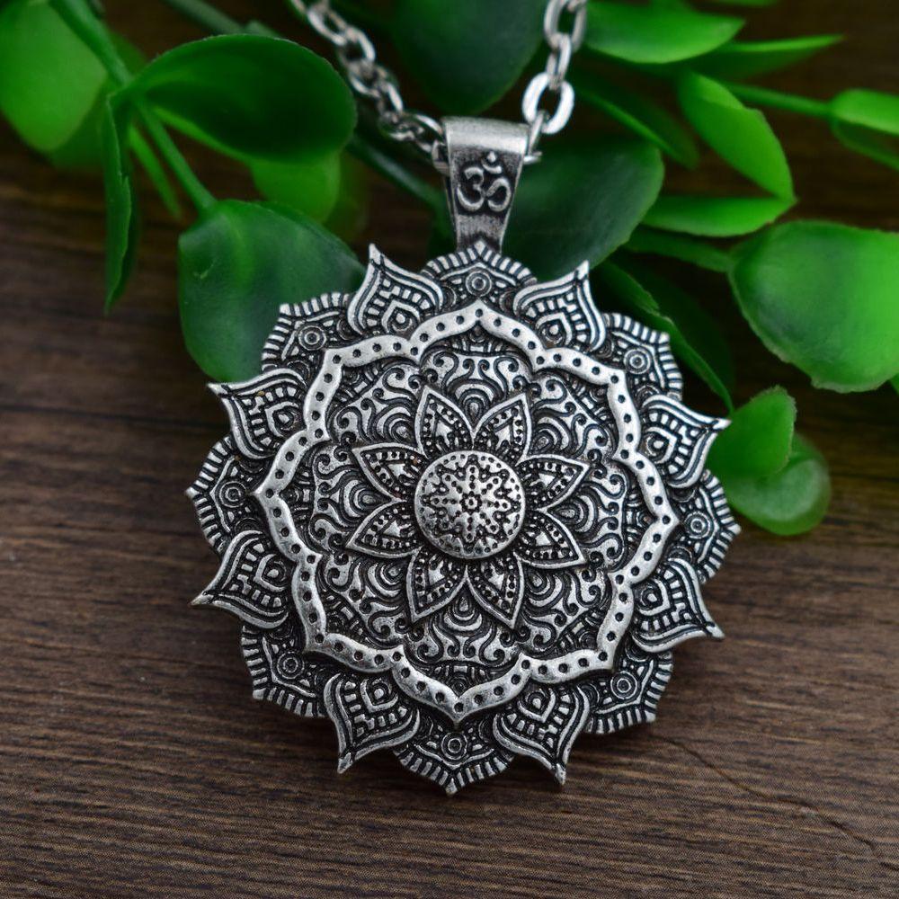 vente en gros 12pc antique en argent om mandala pendentif yoga collier de prière mala bijoux géométrie amulette religieuse