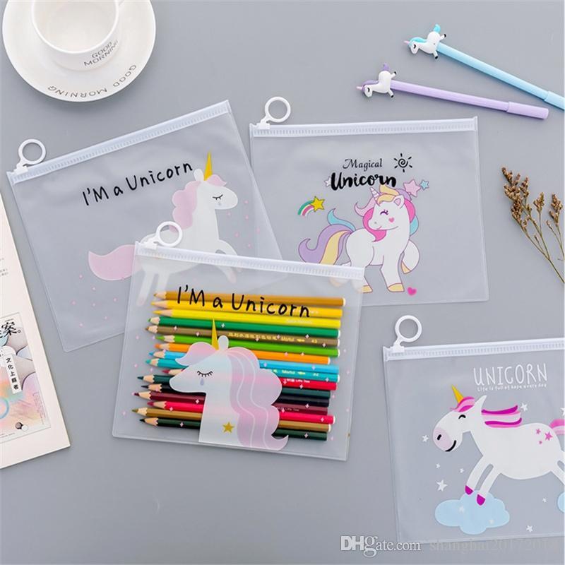 1 Adet Sıcak Sevimli Unicorn Şeffaf PP Toka Belge Tutucu Ofis Klasörü Depolama Paketi A4 Kağıt Dosya Klasörü