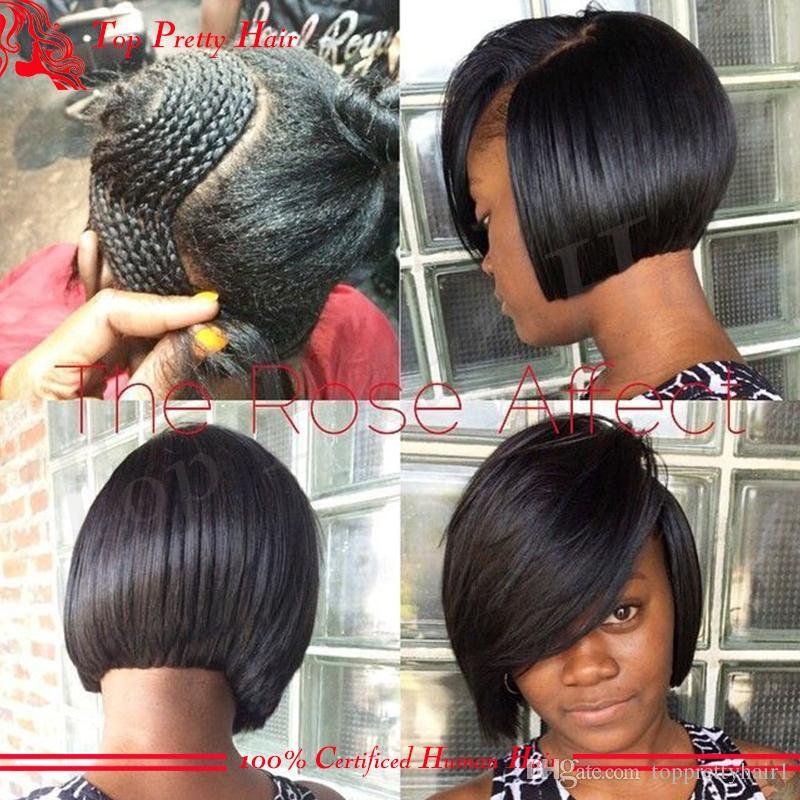 Lace Front Wig Bob African American Human Hair Wigs With Bangs Full Lace Real Human Hair Short Bob Lace Wig With Bangs