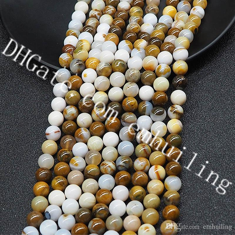 8mm Genuine Natural Multicolor African Yellow Opal Smooth Round Gemstone Loose Beads,1 Strand, Approx 48 Beads for Making Your Own Jewelry