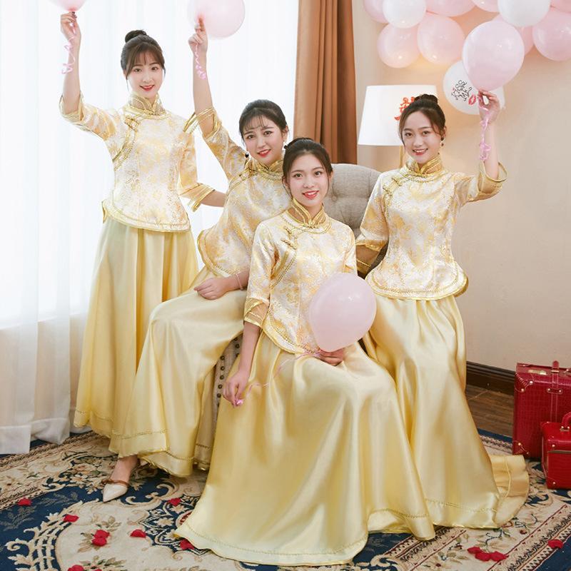 2018 новые подружки невесты, юбки сестер, свадьбы, китайские подруги, длинные платья подружек невесты, дамы.