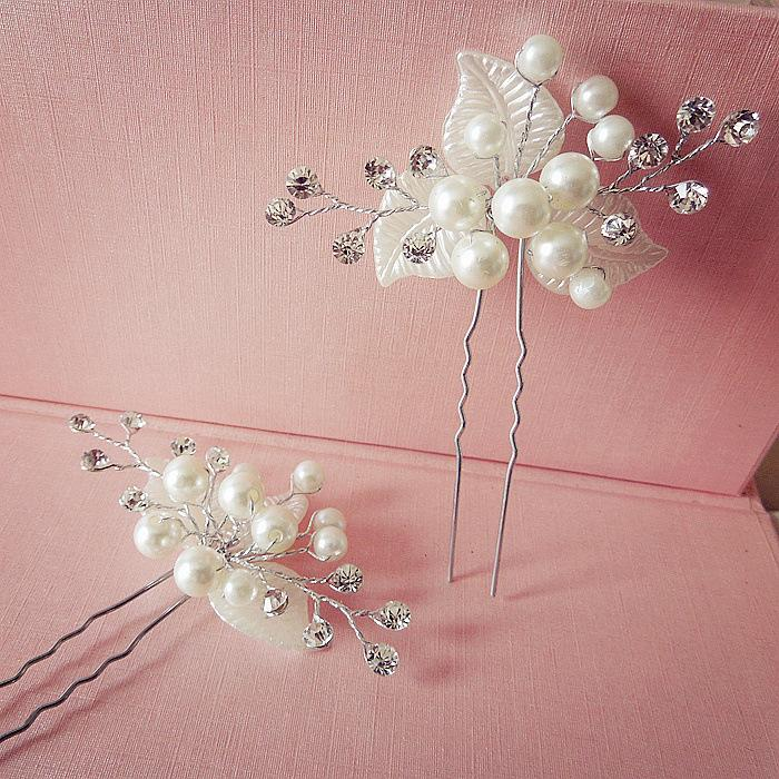 2 Pcs/Set Wedding Bridal Hairpins Simulate Pearl Hair Clips Ornaments Hairs Pins Lady Hairstyles Jewelry Accessories