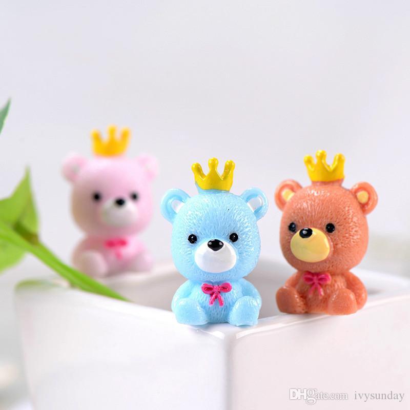 Cartoon Crown Bear Resin Doll Pendant Ornament Moss Micro Landscape Decoration DIY Miniature Fairy Garden Accessory