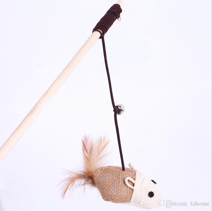 Pet Cat Toy Teaser Bird Mouse Pluma Plush Cat Wand Catcher Teaser Palo de madera - Juguetes interactivos para mascotas de gato