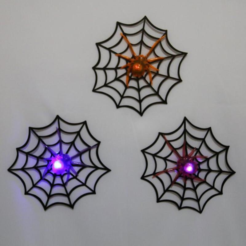 LED Yanıp Sönen Glow Örümcek Örümcek Ağı Cadılar Bayramı Dekor Sahne Çocuk Oyuncakları Yortusu Parti Dekorasyon