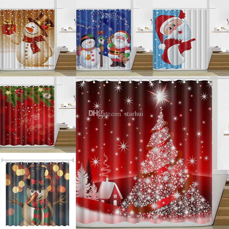 Christmas Curtains.2019 180 180cm Christmas Shower Curtain Santa Claus Snowman Waterproof Bathroom Shower Curtain Decoration With Hooks 21 Design Wx9 107 From Starhui