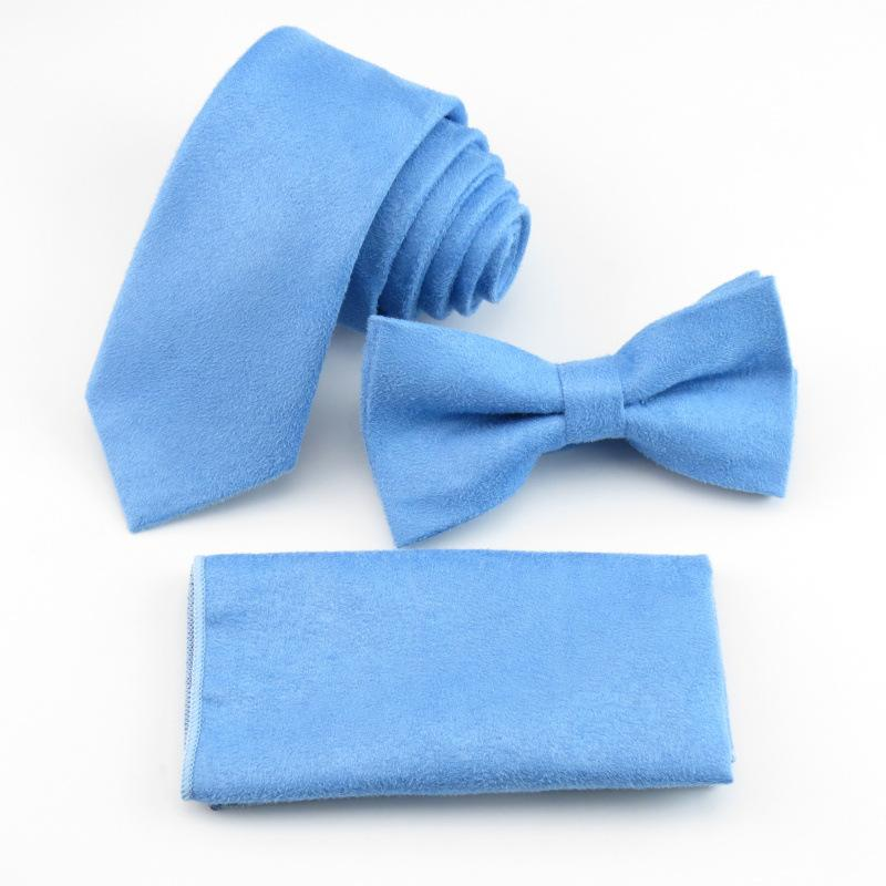 2018 Ensemble de cravates en micro-suède couleur unie pour homme Ensemble de mouchoirs en forme de papillon