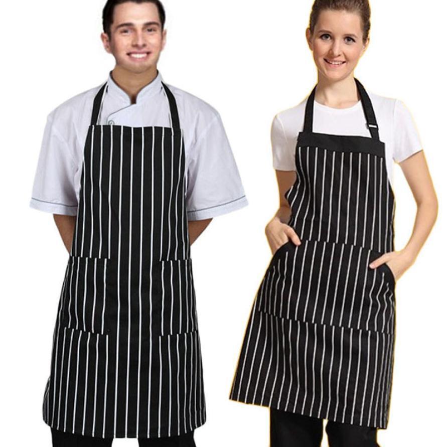 Горячий шеф-повар Фартук с регулируемой черной полосой Bib Фартук-шеф-повар-ресторан Avental de Cozinha Divertido # 9869