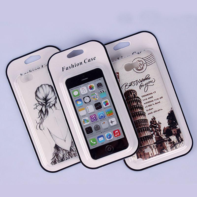 Moda PCV Plastikowa Pudełko do opakowania PCV dla Samsung S5 Pokrywa Phone Universal Card Paper Box dla iPhone 8 8Plus Telefon komórkowy
