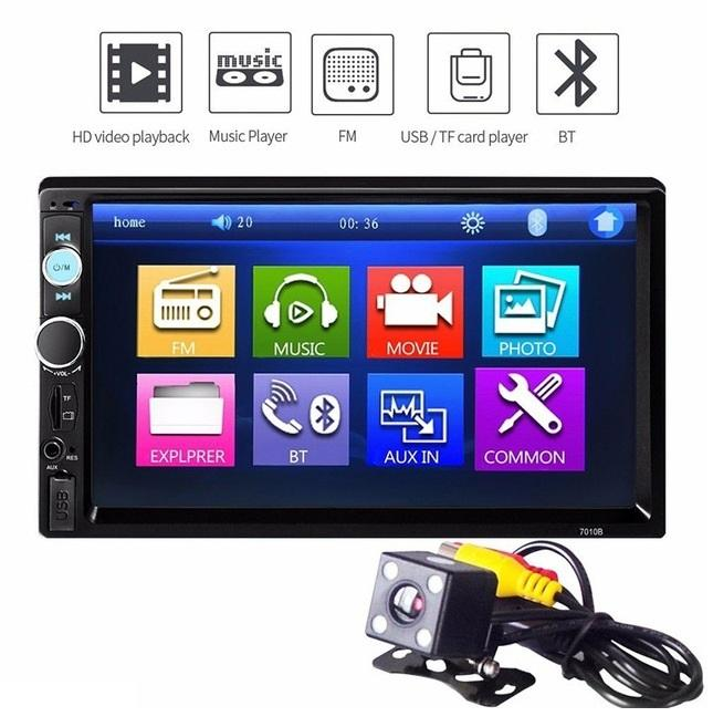 Car Multimedia Player Universal Car Radio MP5 Player 7''HD Touch Screen Audio Stereo Bluetooth USB AUX Support Rear View + 720P Camera Hot