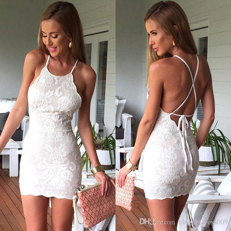 Sexy Cheap Full Lace Sheath Cocktail Dresses Backless Halter Neck Applique Party Evening Gowns Homecoming Dress Graduation Custom Made