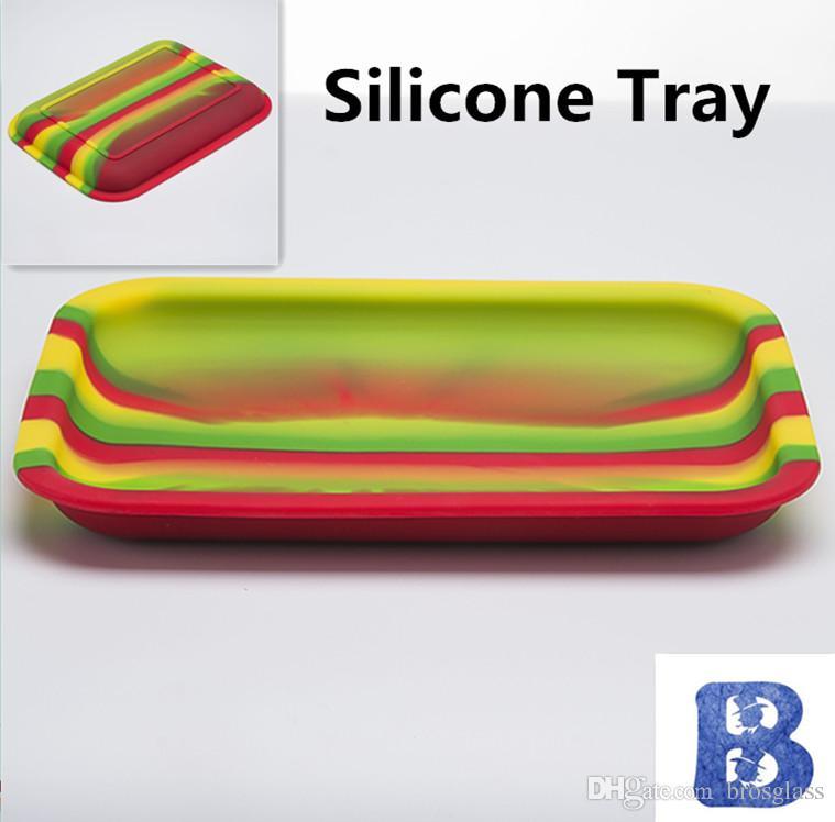 Plateau en silicone 200mm * 150mm * 20mm couleur mixte Silicone Jar Container Dish Wax Dab Plateau en silicone de qualité alimentaire en silicone
