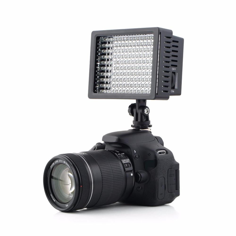 Freeshipping 1set Camera HD 160 LED Video Light Lamp 1280LM 5600K/3200K Dimmable for Canon for Nikon Camera Video Camcorder