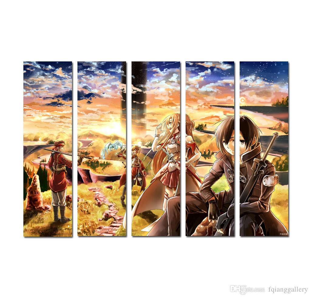 Modern Home Decor 5 pieces Art Quality Print on Canvas Japanese cartoon animation Poster Painting Wall Art Living Room Decoration DhB05