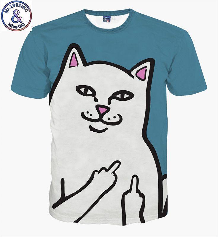 2018 кошки футболка Мужчины / Женщины 3D печати Мяу звезда кошка хип-хоп мультфильм футболки лето топы тис мода 3D рубашки