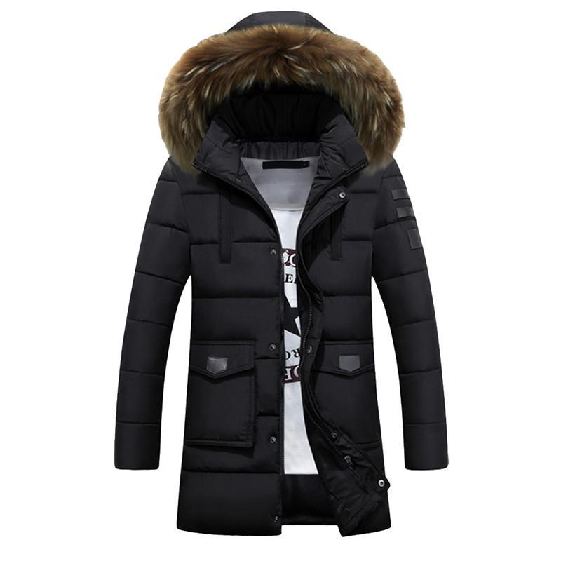 2018 Kış Kalın Sıcak Erkek Uzun Yastıklı Ceket Kapşonlu Puffer Coat Gerçek Kürk Yaka Parka Homme 3XL 4XL Artı Boyutu Chaquetas Hombre