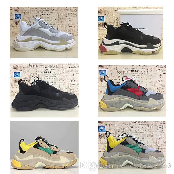 2018 balenciaga shoes Mode Paris 17FW Triple-S Sneaker Triple S Casual Papa De Luxe Chaussures pour Hommes Femmes Beige Noir Sports Tennis Chaussure De Course 36-45