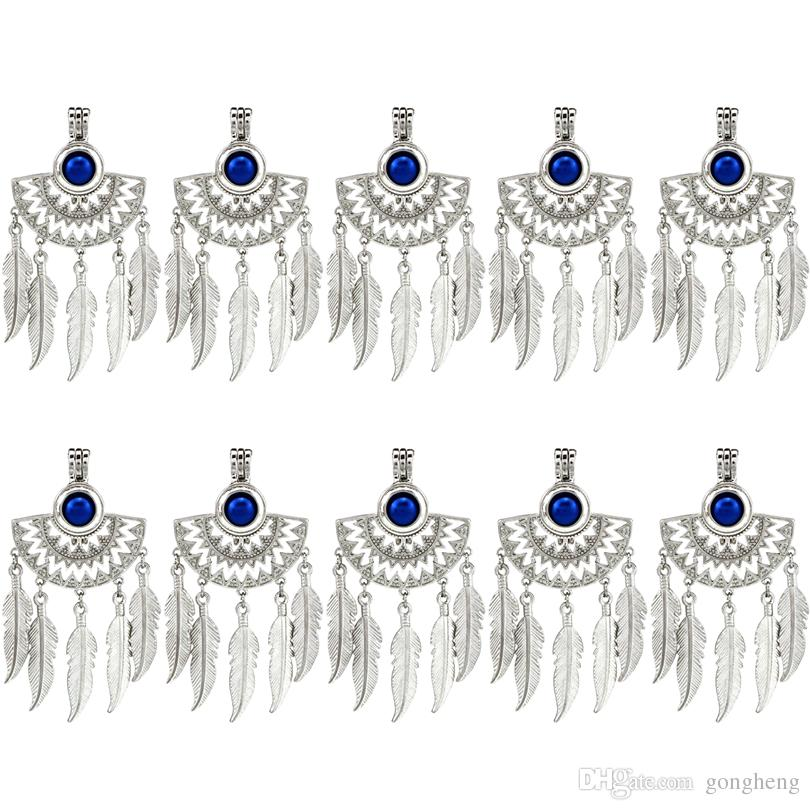 10pcs/lot Silver Half Moon Beaming Sun Fan Shapes Native Filigree Dangle Feather Beads Pearl Cage Locket Pendant