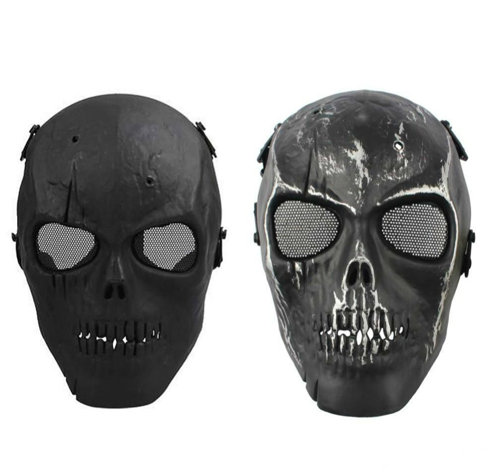 On Sale Army Mesh Full Face Mask Skull Skeleton Airsoft Paintball BB Gun Game Protect Safety Mask Masquerade For Men