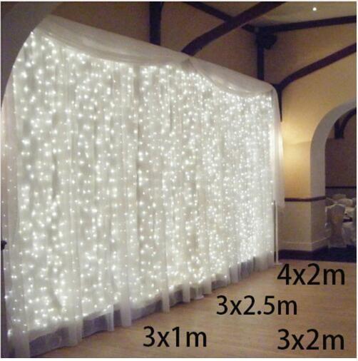 3x1 / 3x2 / 4x2m LED 고드름 문자열 조명 크리스마스 요정 조명 화환 야외 홈 웨딩 / 파티 / 커튼 / 정원 장식