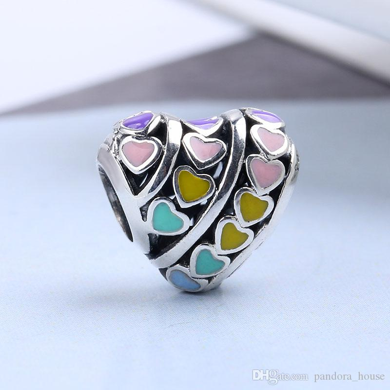 2018 Printemps Fit Pandora Bracelets Charmes Perles Coloré Amour Coeur 100% Authentique En Argent Sterling Charmes Perles pour La Fabrication de Bijoux Cadeau DIY
