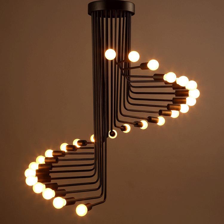 Lustre américain country rétro maison créative escalier café industrie de l'éclairage lustre spirale du vent