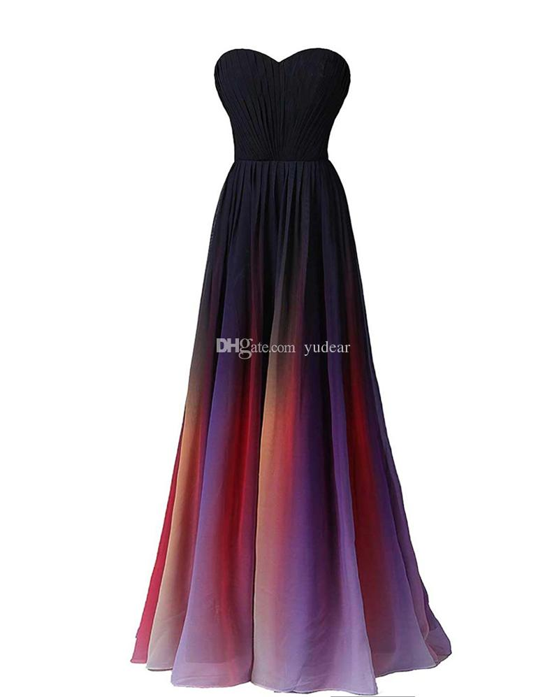 2019 Sexy Sweetheart A-line Women Prom Dresses Lace Up Back Multicolor Chiffon Sassy Draped Evening Dresses for Banquets Maid Pageant Gowns