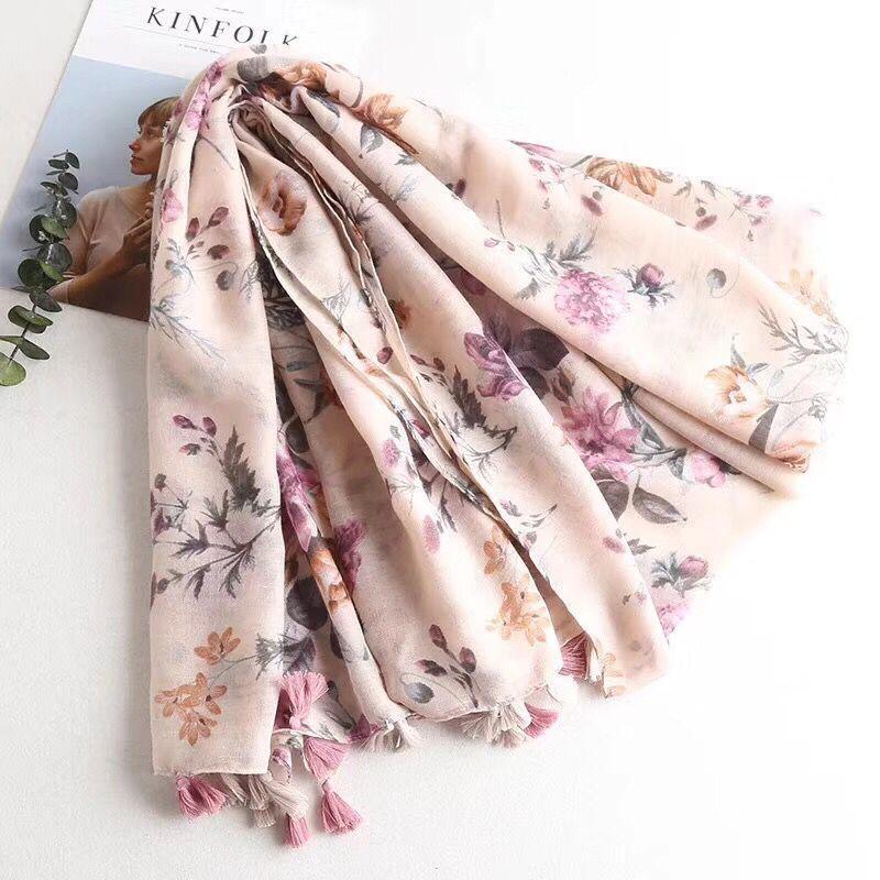 2018 머리 스카프 여름 목도리 이슬람 hijab 꽃 인쇄 스카프 shawls 및 스카프 꽃 hijab, viscose 스카프 랩 여성 케이프