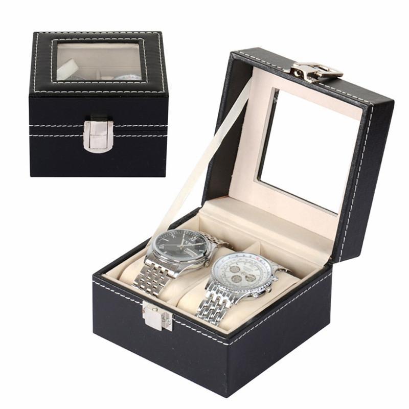 2017 PU MDF 2-Grid Watch Display Storage Box Couple Watches Storage Box High Quality EG444