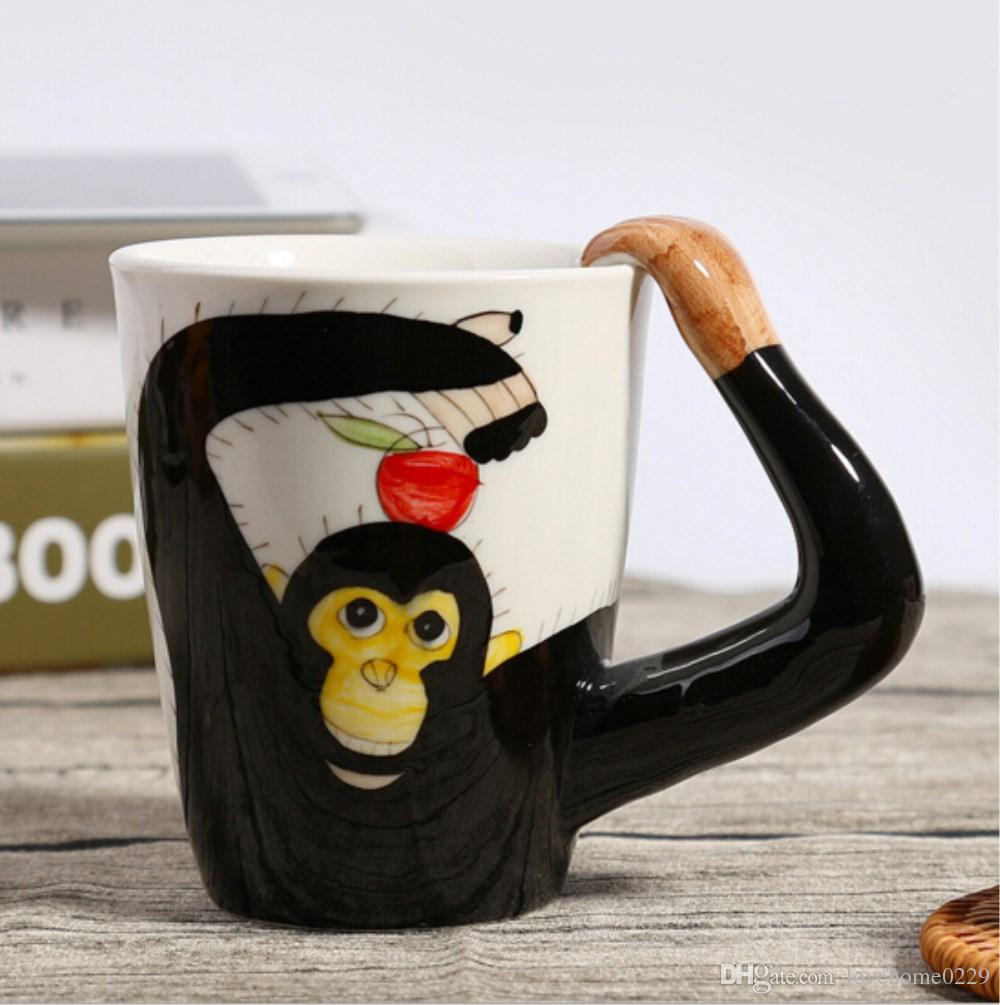3D Animal Ceramic Cup Hand Painted Creative Coffee Mug Milk Cups Cute Orangutan,Horse,Deer,Cows Ceramic Cup