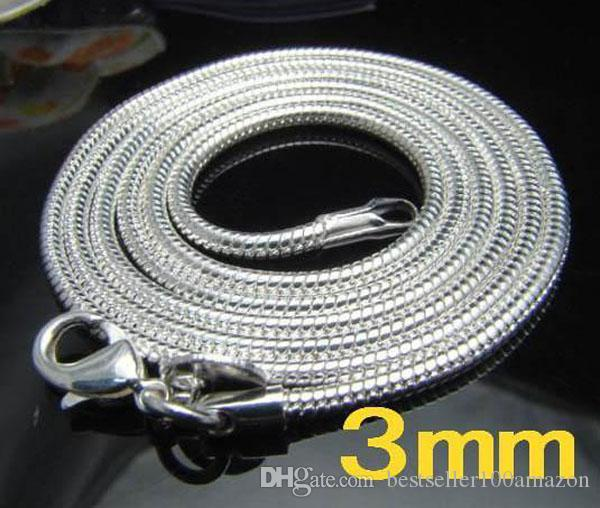 Fine 925 Sterling Silver Colar 3mm 16-24inch Shake Chain Link, 2018 Fine Real 925 Prata Link Corrente Itália Colar Novo Estilo Hot Sn192