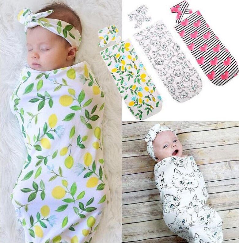 INS 9 색상 유아 꽃 무늬 면화 Swaddle 담요 2 조각 세트 슬리핑 백 Muslin Wrap + Headband 신생아 아기 잠옷 도매