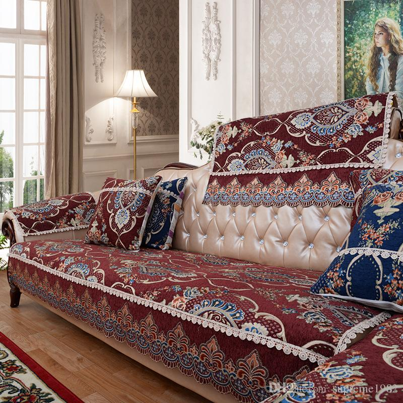 Luxury European Style Floral Sofa Slipcover Couch Protector Cushion Anti  Skid Red Parson Chair Covers Couch Slipcover From Supreme1982, $13.36| ...
