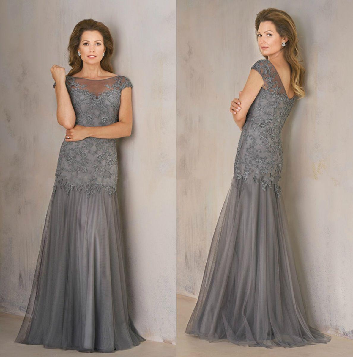 Großhandel Jasmine Mermaid Mutter Der Braut Kleider Elegant Plus Size  Spitze Formelle Kleider Grau Ärmel Hochzeitskleid Gast Von Newdeve, 17,17 €  Auf