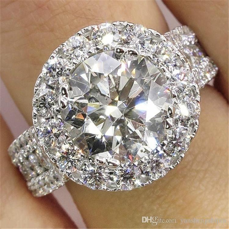 Muhteşem Marka Takı Gümüş Beyaz Safir Pırlanta Gelin Nişan Düğün Band Yüzük ölçüsü 6 7 8 9 10 AB * 3997