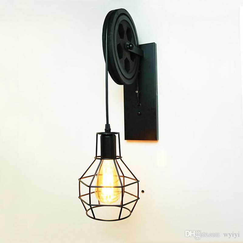 Creative lifting pulley light retro loft vintage wood black wall lamp aisle bedside corridor porch restaurant bar cafe light bra