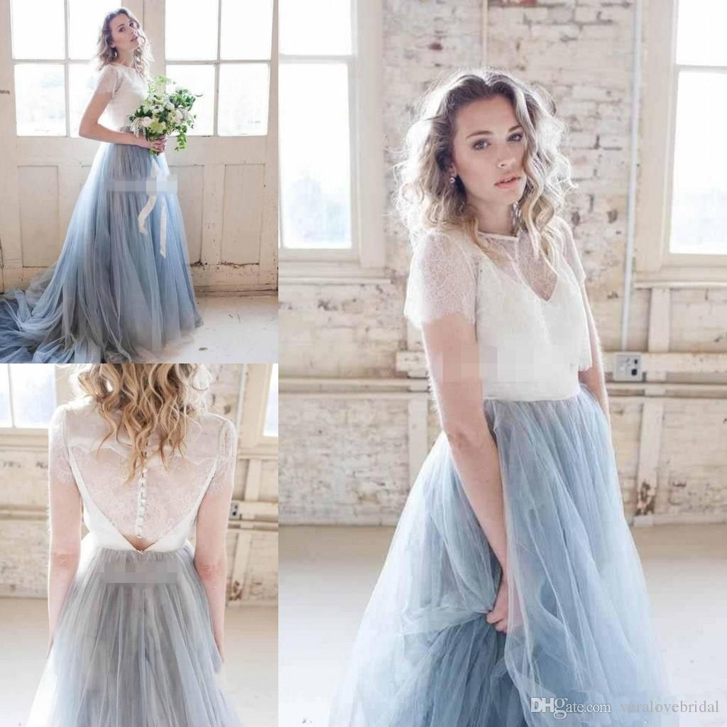 2018 Fairy Beach Boho Lace Wedding Dresses A line Two Pieces Beach Wedding Dresses Light Blue Skirts Bohemia Bridal Gowns Custom Made