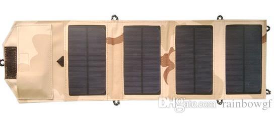 Panel solar plegable monocristalino de fábrica 7W + USB 5V + Cargador de batería de bolsa solar para móvil / iPhone