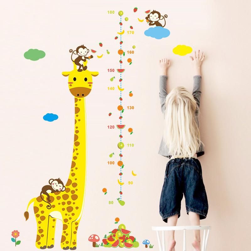 Cartoon Measure Wall Stickers For Kids Rooms Giraffe Monkey Height Chart Ruler Decals Nursery Home Decor Free shipping