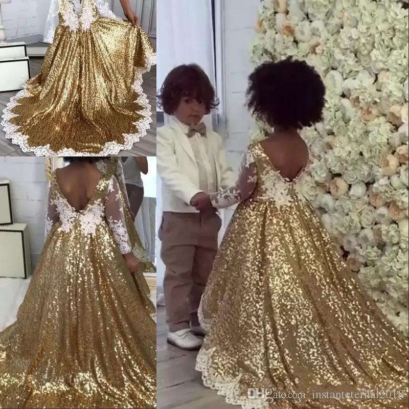 Çocuk Doğum Günü Elbiseleri Mücevher Boyun Sweep Tren Altın Pullarda Çiçek Kız Elbise Dantel Aplikler Uzun Kollu Kız Yarışması Elbise BlingBling
