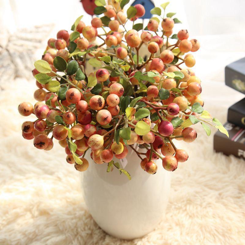 2018 뜨거운 판매 인공 꽃 단일 콩 지점 미니 레드 베리 시뮬레이션 꽃 결혼식 장식 홈 가구