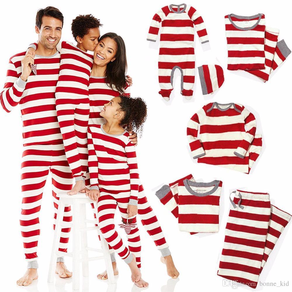 عيد الميلاد منامة الأسرة مطابقة أحمر مخطط نوم ملابس الطفل طفل الكبار عيد الميلاد مخطط ماما بابا ملابس أطفال هدية رومبير الزي