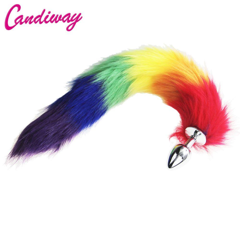 Rainbow Fox / Chien Queue En Métal À Poil Anal Plug Sexy Jouets Butt Plug BDSM Flirt Anus Plug Pour Femmes WILD chat Queue Adulte Jouet Stim Y18100803