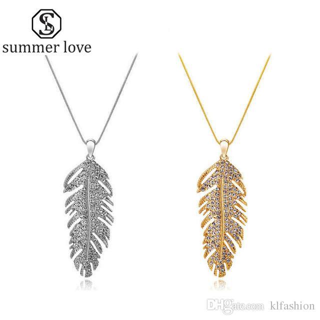 Hecho a mano Austria Crystal Love Wings Colgantes Link Cadena Collar Pendiente para Mujeres Fashion Feather Leaf Shining Walententing Day Regalos