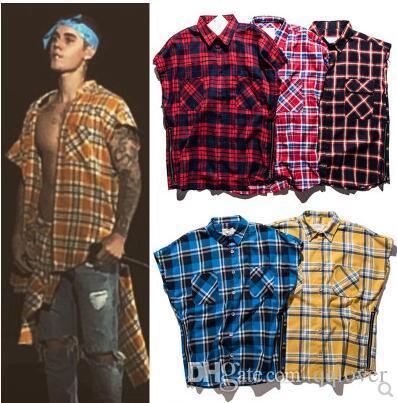 Justin Bieber Side Split Zip Camisa a cuadros sin mangas Marca de marea americana y americana Retro Cardigan suelto Camiseta a cuadros Adolescente Streetwear