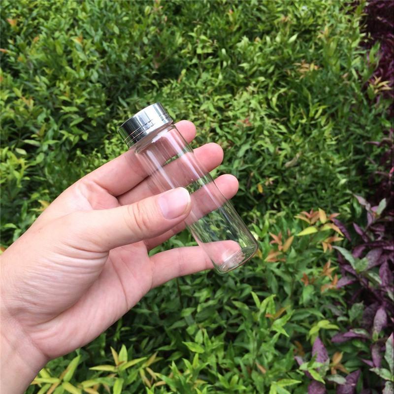 50ml Diy Wedding Gift Crafts Jars Bottles Aluminum Screw Silver Cap Wishing Bottles Glass Crafts Jars3
