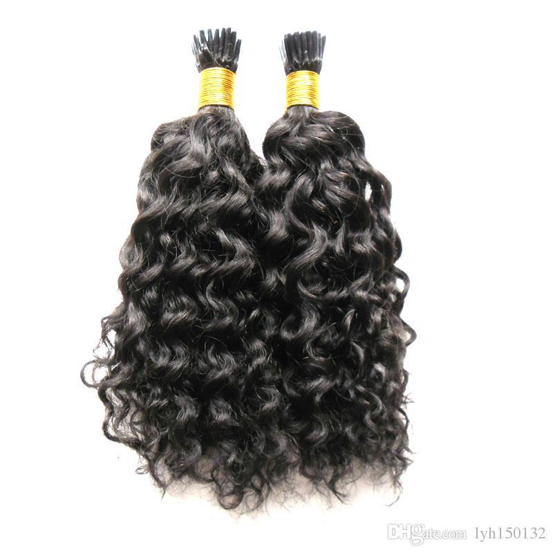 """10 """"-26"""" Onda Curly Brasileira Extensões de Cabelo Humano Eu Ponta Extensões de Cabelo Humano 100G 100 S Glue Fusão keratina vara ponta extensões de cabelo"""